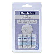 Beadalon Crimp Bead Variety Pack (0.8mm, 1.3mm, 1.5mm, 1.8mm) Silver