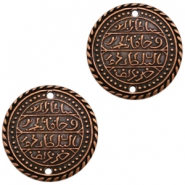 Charms TQ metal connector Oriental coin 32mm Copper (Nickel Free)