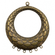Charms TQ metal ring with 6 loops Antique Bronze (Nickel Free)