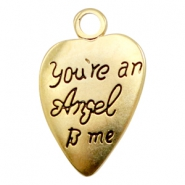 "Charms TQ metal heart ""you're an angel to me"" Gold (Nickel Free)"