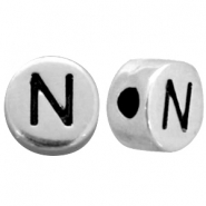 Metal-look beads letter N Antique Silver
