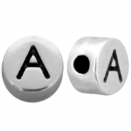 Metal-look beads letter A Antique Silver