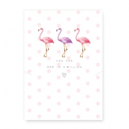 "Jewellery cards ""You are one in a million"" with a flamingo White-Pink"
