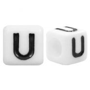 Acrylic letter beads letter U White