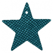 DQ European leather pendants star Porcelain Blue