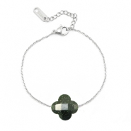 Stainless steel bracelets Sisa with fashion faceted clover Dark Green Glitter