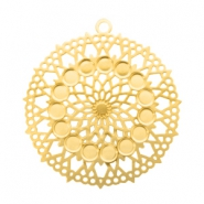 Bohemian charms round with loop 26mm Gold