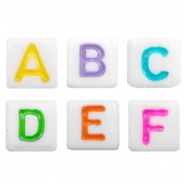 Acrylic letter beads alphabet Multicolour-white
