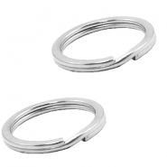 Stainless Steel findings keychain ring 28mm Antique Silver