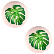 Basic cabochon 12mm Tropical Palm Leaf-Creamy Peach