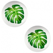 Basic cabochon 12mm Tropical palm leaf-Light Grey