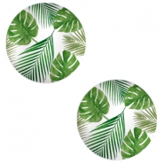 Basic cabochon 20mm Tropical Leaves-white