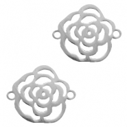 Stainless steel charms connector rose Silver