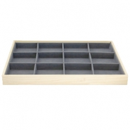 Jewellery display 12 compartments Natural-Dark Grey