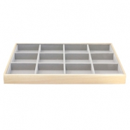Jewellery display 12 compartments Natural-Grey