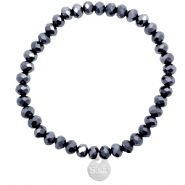 Sisa top faceted bracelets 6x4mm ( stainless steel charm) Black-Top Shine Coating