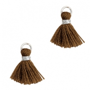 Tassels 1cm Silver-Bitter Chocolate Brown