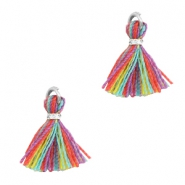 Tassels 1cm Silver-Multi Colour Red Purple
