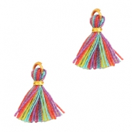 Tassels 1cm Gold-Multi Colour Red Purple