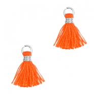 Tassels 1cm Silver-Neon Orange