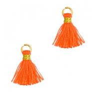 Tassels 1cm Gold-Neon Orange