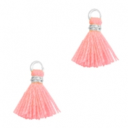 Tassels 1cm Silver-Neon Coral Pink