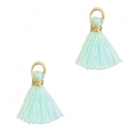 Tassels 1cm Gold-Clearwater Blue