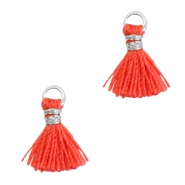 Tassels 1cm Silver-Fusion Coral Red