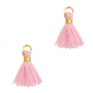Tassels 1cm Gold-Candy Pink