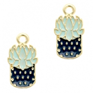 Basic Quality metal charms cactus Gold-Blue