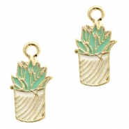 Basic Quality metal charms cactus Gold-White Light Blue