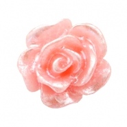 Rose beads 10mm Salmon Rose-Silver Coating