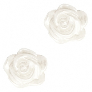 Rose beads 6mm White-Silver Coating