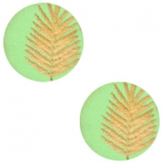 Wooden cabochon fern 12mm Lizard Green