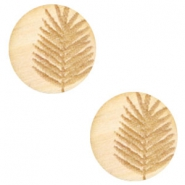 Wooden cabochon fern 12mm White Wood (natural wood colour)