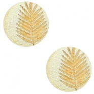 Wooden cabochon fern 12mm Champagne Metallic