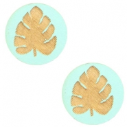 Wooden cabochon leaf 12mm Turquoise