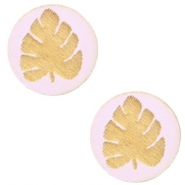 Wooden cabochon leaf 12mm Light Lavender Purple