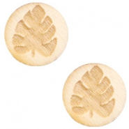 Wooden cabochon leaf 12mm White Wood (natural wood colour)
