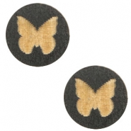 Wooden cabochon butterfly 12mm Black