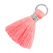 Tassels 1.8cm Silver-Neon Coral Pink