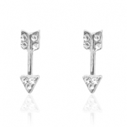 Trendy earrings studs arrow Silver
