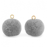 Pompom charms with loop 15mm Grey-Gold
