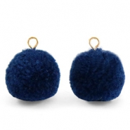 Pompom charms with loop 15mm Nightshadow Blue-Gold