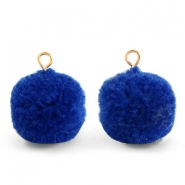 Pompom charms with loop 15mm Egyptian Blue-Gold