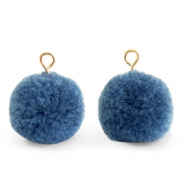 Pompom charms with loop 15mm Dark Glaucous Blue-Gold