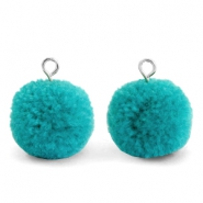 Pompom charms with loop 15mm Jungle Green-Silver