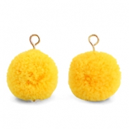 Pompom charms with loop 15mm Sunrise Warm Yellow-Gold