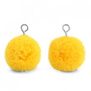 Pompom charms with loop 15mm Sunrise Warm Yellow-Silver