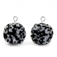 Pompom charms with loop 15mm Black White-Silver
